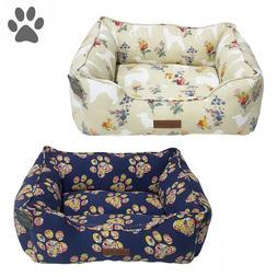 100% Cotton Floral Pet Dog Bed Cuddler High Bolster Washable