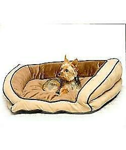 KH Mfg Bolster Couch Mocha Dog Bed Large Microsuede