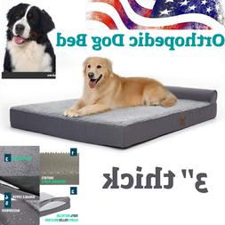 """Large Orthopedic Dog Bed up to 75 lbs,3 """" Thick  Foam Bolste"""